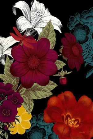 Vibrant Florals Black 2 by Devon Ross