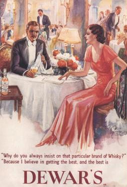 Dewar's, Whiskey Alcohol Dinners, UK, 1930