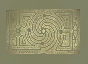 Gold Foil Garden Plan III on Mid Green by DeZallier d'Argenville