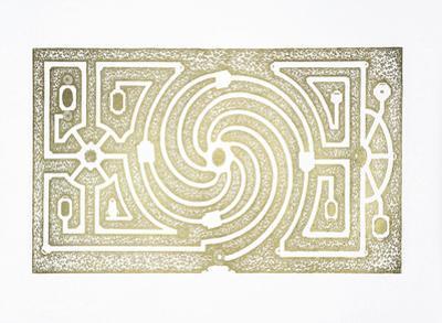 Gold Foil Garden Plan III by DeZallier d'Argenville