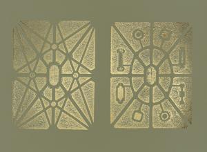 Gold Foil Garden Plan IV on Mid Green by DeZallier d'Argenville