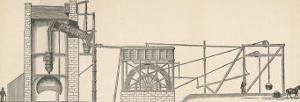 Diagram Showing the Use of a Steam Engine in a Coal Mine