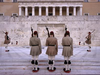 Changing of Evzone Guards at Greek Parliament Building, Athens, Attica, Greece by Diana Mayfield