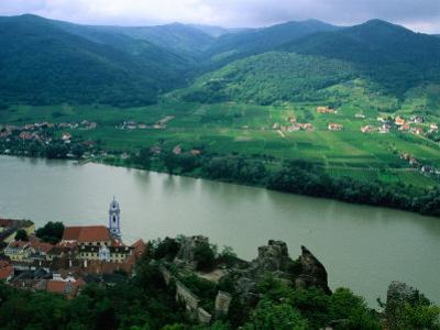 Danube Valley in Wachau Region with the Ruins of Kuenringer Castle, Durnstein, Austria by Diana Mayfield