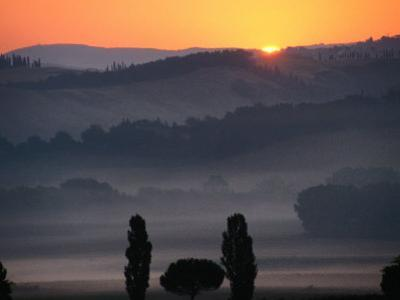 Dawn Over Tuscan Landscape Near Buonconvento, Buonconvento, Tuscany, Italy by Diana Mayfield