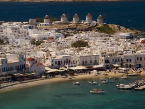Harbour Town with Disused Windmills in Distance, Mykonos Island, Southern Aegean, Greece by Diana Mayfield