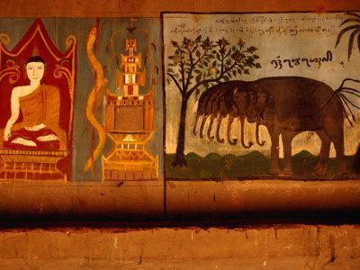 Mural in Buddhist Monastery at Xishuangbanna, Yunnan, China