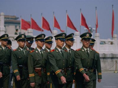 People's Liberation Army Soldiers at Tianananmen Square, Beijing, China by Diana Mayfield