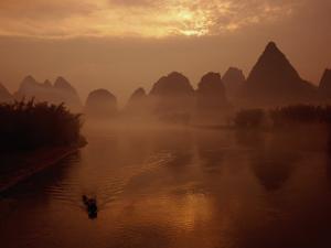 Sunrise Over River Li, Yangshuo, Guangxi, China by Diana Mayfield