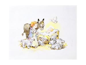 Donkey and Lambs around a Manger by Diane Matthes