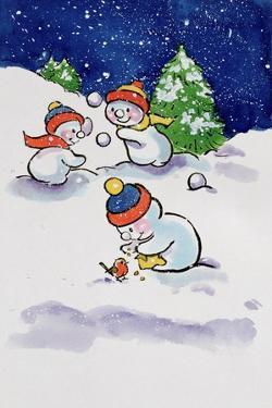 Little Snowmen Snowballing, 1996 by Diane Matthes