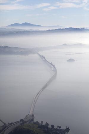 Aerial Landscape of Richmond-San Rafael Bridge, Looking East with Clearing Morning Fog and Mt. Diab by Diane Miller