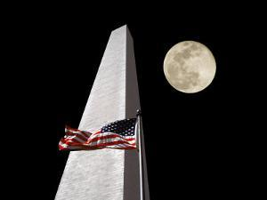 Collage of the Washington Monument, American Flag, and Moon by Diane Miller