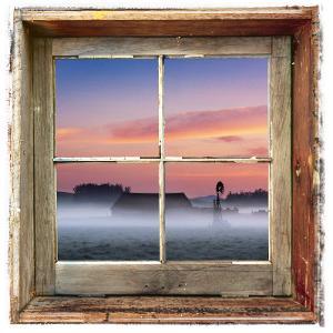 Farmyard Sunrise Viewed Through an Old Window Frame by Diane Miller