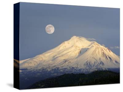 Winter View of Mt. Shasta, in Northern Ca, with Full Moon Rising by Diane Miller