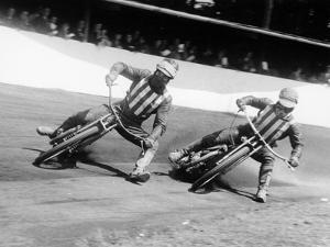 Dick Bradley (On the Lef) and Alby Golden at a Speedway Track, Exeter, C1952-C1953