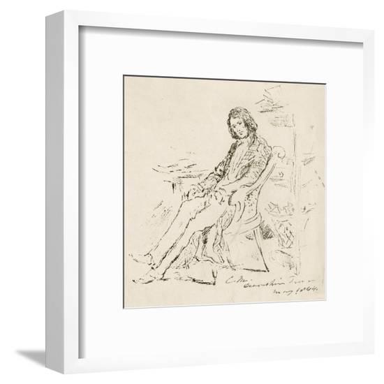 Dickens Maclise Sketch--Framed Giclee Print