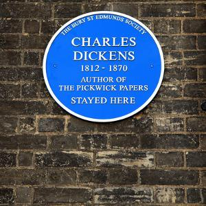 Dickens Plaque, Bury St Edmunds, Suffolk
