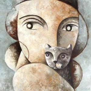 Cat and Woman by Didier Lourenco
