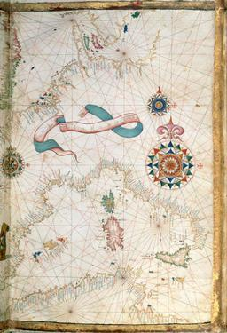 Corsica, Sardinia and Sicily, Detail from a World Atlas, 1565 (Vellum) by Diego Homen