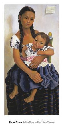 Delfina Flores and her Niece Modesta by Diego Rivera