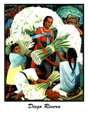 Diego Rivera (Vendedores de Flores) Plastic Sign by Diego Rivera