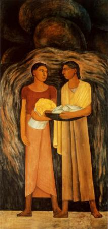 Women with Flowers and Vegetables by Diego Rivera