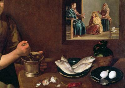 Kitchen Scene with Christ in the House of Martha and Mary by Diego Velazquez