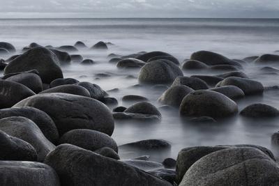 Norway, Lofoten, Vestvagoey, Coast, Uttakleiv Beach, Long Exposure
