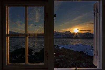 Sunrise Seeing Through Window, Reinefjorden, Moskenes, Lofoten, Norway