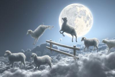 Sheep Jumping over Fence in a Cloudy Moon Scene by Dieter Spannknebel