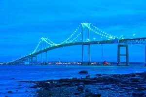 Jamestown Bridge Crossing over Bay at Newport Rhode Island by digidreamgrafix