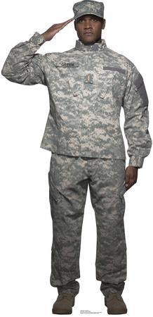 Digital Camo Soldier Lifesize Standup