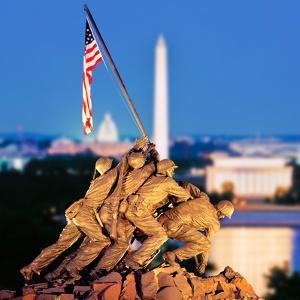 Digital Composite, Iwo Jima Memorial with Washington Monument in the Background, Arlington Natio...