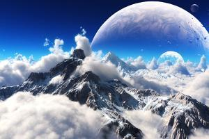 Celestial View of Snow Capped Mountains and an Alien Planet. by Digital Storm