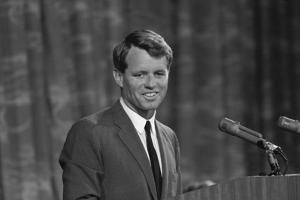 Digitally Restored Photo of Robert Kennedy Speaking at a Podium