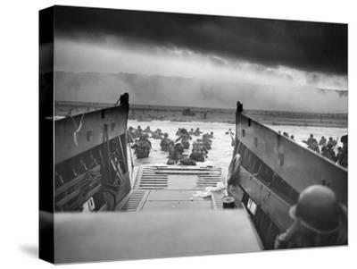 Digitally Restored World War II Photo of American Troops Approaching Omaha Beach