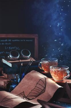 Steampunk Tea (with Goggles And Blueprints) by Dina Belenko