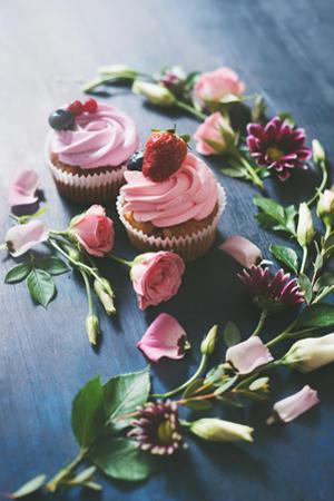 Strawberry Cupcakes with Flowers by Dina Belenko