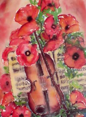 Violin and Poppies by Dina Cuthbertson
