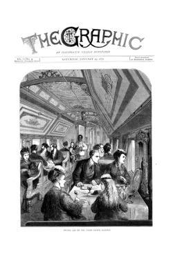 Dining Car on the Union Pacific Railroad, USA, 1870