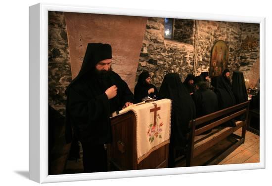 Dining hall at Koutloumoussiou monastery, Mount Athos, Greece-Godong-Framed Photographic Print