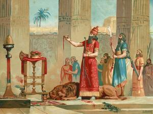 Ashurbanipal Offering Lions in Sacrifice by Dionisio Baixeras-Verdaguer