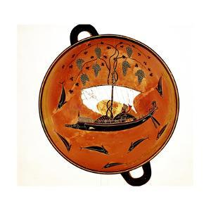 Dionysius in a Sailing Boat Surrounded by Dolphins, Ancient Greek Dish (Krate), 530 Bc