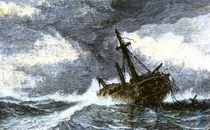 Dismasted Ship Driftng at Sea after a Storm