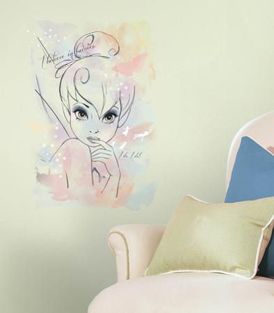 "Disney Fairies - ""I Believe in Fairies"" Tink Watercolor Graphic Giant Wall Decal"