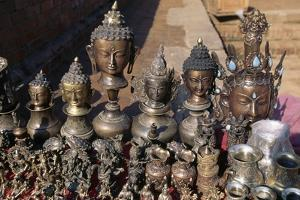 Display of Objects and Bronze Vessels, Durbar Square, Patan, Nepal