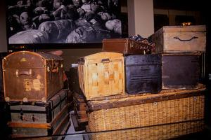 Display of old trunks and suitcases at Ellis Island National Park, New York City, New York