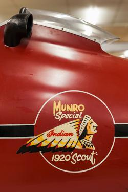Display of race winning Indian motorcycle once raced by Burt Munroe at E. Hayes & Sons, Invercar...