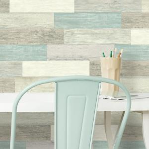 Distressed Barn Wood Plank Blue Peel And Stick Giant Wall Decals